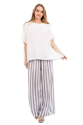 Love In P70010 Wide Leg Striped Pants with Pockets Navy/White M by Love In (Image #2)