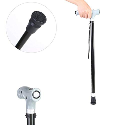 Adjustable Cane Non-Slip Folding Walking Stick Light with Light Aluminum Cane Old Magnetic Therapy Cane for Men and Women Carrying Tourist Elderly Walking Stick
