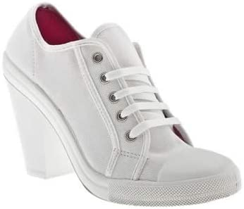 High Heel White Canvas Lace up Trainers
