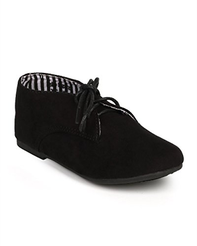 Suede Round Toe Lace Up Classic Ankle Oxford Flat (Toddler/Little Girl/Big Girl) DG66 - Black (Size: Toddler 9)
