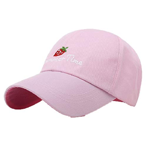 (Fashion Baseball Caps for Women Embroidered Strawberry Snapback Hats Summer Curved Visor Adjustable Sport Fitness Sun Cap)