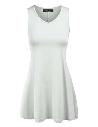 Made By Johnny WT827 Womens Sleeveless V Neck Dress Top XXL White by Made By Johnny (Image #1)