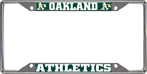 (SLS FANMats Oakland Athletics A's EZ View Design Chrome Frame Metal License Plate Tag Cover Baseball)