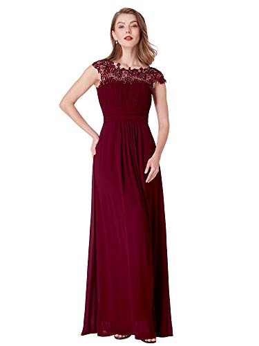 Ever-Pretty Womens Plus Size Cap Sleeve Lace Neckline Ruched Bust Evening Gown 22 US ()