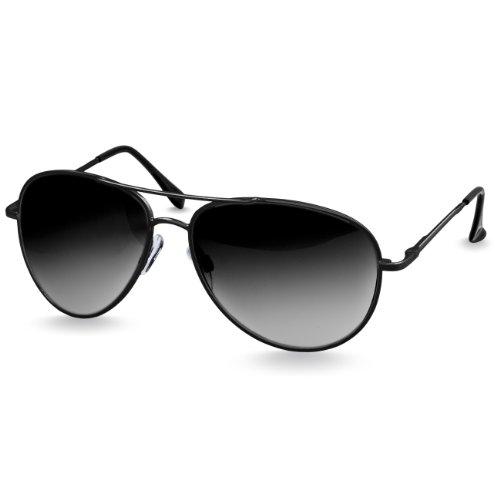 soleil Lunettes Unisexe avec Noir Rétro de ressort Noir Teinté charnières à Caspar SG013 x5watt