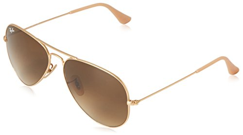 Ray-Ban 3025 Aviator Large Metal Non-Mirrored Non-Polarized Sunglasses, Gold/Brown Gradient (112/85), - Brown Aviators Ban Ray Gold And