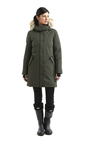 Triple F.A.T. Goose Alistair Womens Hooded Arctic Parka With Real Coyote Fur (Medium, Olive) by Triple F.A.T. Goose (Image #5)
