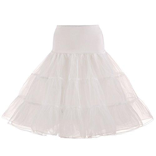 BeiQianE Femmes 1950 Vintage Petticoat genou Tutu jupe jupon Underskirt demi Slips Crinoline pour la noce Ivoire