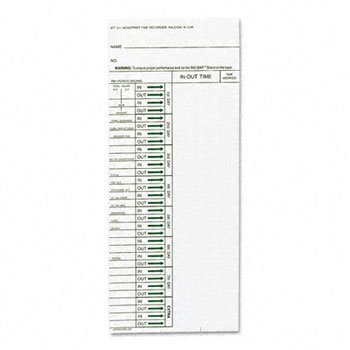 Acroprint® Cards for Model ATT310 Electronic Totalizing Time Recorder CARD,TIME,WKLY#310,200/PK (Pack of5) by ACRO P