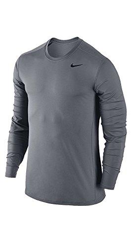 Nike Dri-FIT Long Sleeve L/S Base Layer Running Training Shirt (L, Gray)