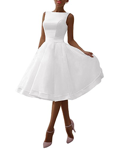 A_Line White Wedding Dresses for Bride Knee Length Party Formal Gowns with Bow