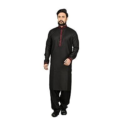 Top PinkCityCreations Mens Kurta Pajama Wedding Cotton Linen Black India Party Wear Set free shipping