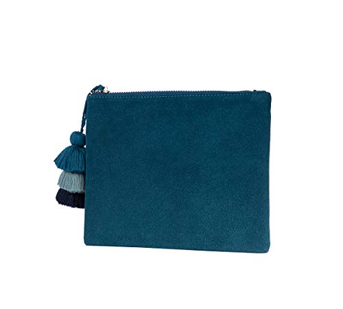 Small Clutch Purse Handbag Bag for Women Vegan Faux Suede Casual Pouch with Tassel Accent(TEAL)