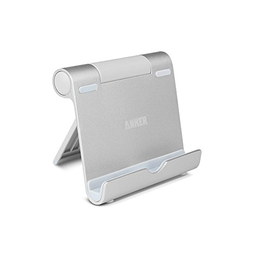 Anker Multi-Angle Portable Stand for Tablets, E-readers and Smartphones, 0.4lb Lightweight Durable Aluminum Body, Compatible for Apple iPads, iPad Air, iPad Mini Mini 2, iPod, iPhone 5 5S 5C 4S 4 3GS; Samsung Galaxy Tab 2, Note 8.0 10.1, Note 3, Note2, Galaxy S4, S3, S2; Google Nexus 4,7,10; Asus EeePad Transformer; HTC One, Sensation; LG Optimus 4X HD, I7; Nokia Lumia 920 900; Google Nexus 4, Blackberry Z10, Sony Xperia Z,  シルバー B00D856NOG