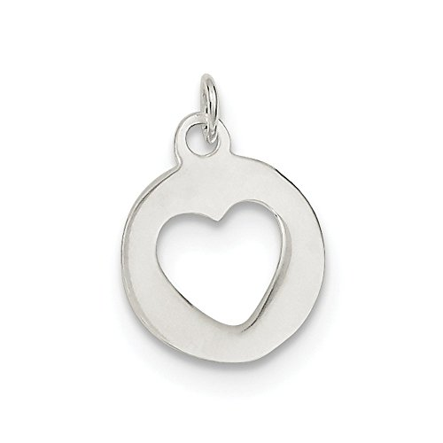 Sterling Silver Open Flat Solid Polished Circle With Heart Charm