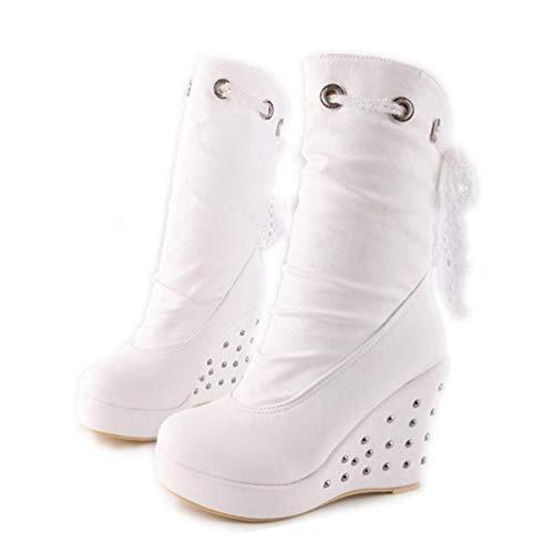 Womens Wedges Platform Mid Calf Boots Plush Fur Shoes Rivet Lace Up Shoes ()