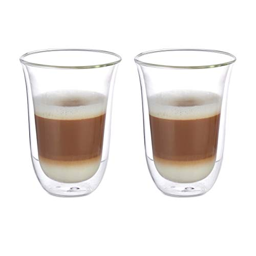Relaxdays 10023443_820 Coffee & Tea Set, 2 Glasses for Latte Macchiato, Double-Walled, Dishwasher-Safe, 300 ml, Clear