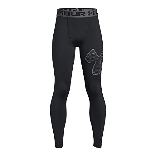 Under Armour Boys Heatgear Logo Leggings, Black /Graphite, Youth X-Large ()