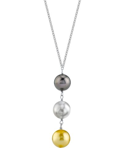 Drop Pearl Necklace Triple Cultured - THE PEARL SOURCE 14K Gold 10-11mm Round Multicolor South Sea Cultured Pearl Triple Drop Pendant Necklace for Women