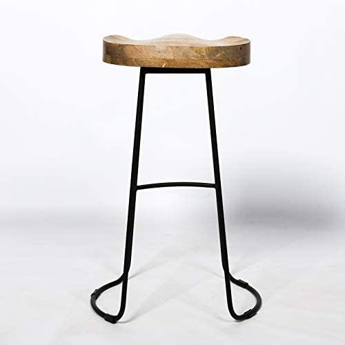 Vintage Mango Wooden Top Kitchen Bar Iron Metal Stool Industrial Tractor Seat