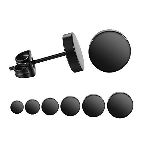 LIEBLICH Black Round Stud Earrings Set Stainless Steel Ear Studs for Men Women 6 Pairs 3mm-8mm ... (Black) (Men Stud Earrings Black)