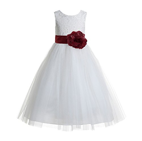 ekidsbridal Floral Lace Heart Cutout Ivory Flower Girl Dresses First Communion Dresses Baptism Dress 172T -