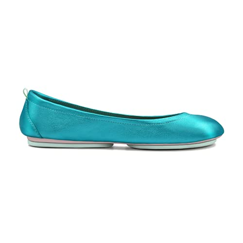 Women's Leather Ballet Flats with Comfortable Foldable Portable Travel(Sky Blue,Nember 8)