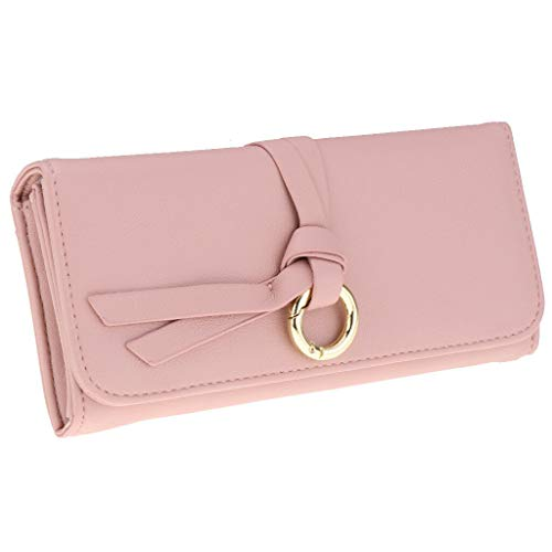 Mens Womens ID Credit Card Holder Bifold Wallet PU Leather Card Case Purse (Color - Pink)
