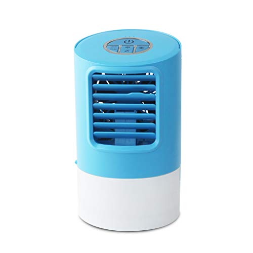 youeneom Air Conditioner Fan, USB Evaporative Coolers with Waterbox, 7 Colors Light Changing, 3 Fan Speed, USB Charging, Ultra-Quiet Table Fan for Home Office Bedroom Kids (Blue)