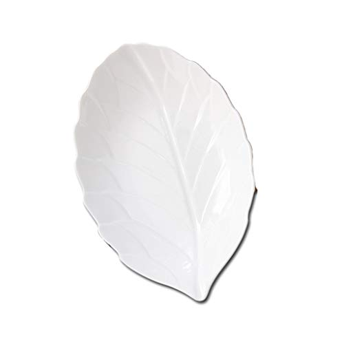 Leaf-shaped Porcelain Plate Hotel Restaurant Creative Display Plate with Texture White (Size : 12