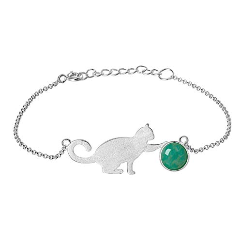 Lotus Fun S925 Sterling Silver Bracelet Cat Playing Balls Adjustable Bracelets with Chain Length 6.5-7.6, Handmade Unique Jewelry Gifts for Women and Teen Girl