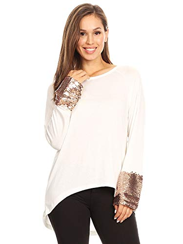 ANNA-KACI Women's Long Sleeve Rose Gold Embellished Sparkle Sequin Cuff Tunic Top, White, Medium (White Blouse Glitter)