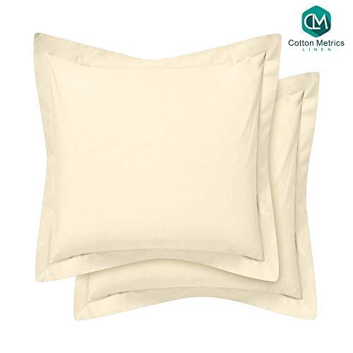 Cotton Metrics Heavy Quality European Square Pillow Shams Set of 2 Ivory 600TC 100% Organic Cotton Euro Pillow Shams 26x26 Pillow Cover, Cushion Cover Euro Size (Euro 26x26, Ivory)