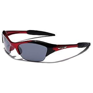 KIDS AGE 3-12 Half Frame Sports Sunglasses, Red/Smoke