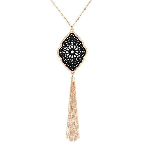 PHALIN Long Necklace for Women Leopard Quatrefoil Pendant Necklace Bohemia Fringe Tassel Necklaces Y Chain Necklace Fashion Jewelry (E Gold-Black)