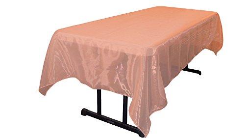 Coral Rectangular Mirror - LA Linen Sheer Mirror Organza Rectangular Tablecloth 60 by 84 inch, Coral