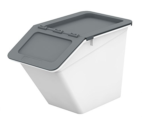 (livinbox PP Plastic Pelican Stackable Storage Bins Cubes Containers Box with Hinged Lids, 13L,MHB-2341 - Grey )