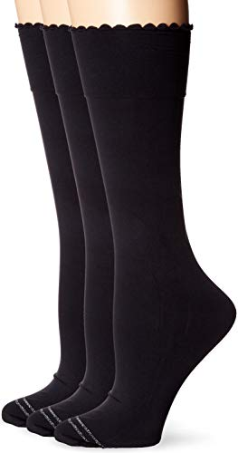 HUE Women's Graduated Compression Knee Hi Socks 3 Pair Pack, Assorted, opaque/black, One Size