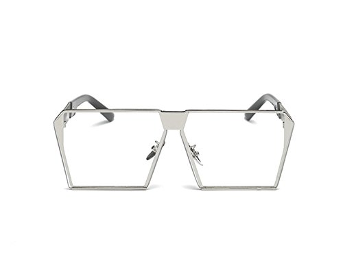 Simplee Unisex Mens Womens Oversized Square Sunglasses Metal Frame Flat Lens Glasses Silver (Sexy Womens Fancy Dress)