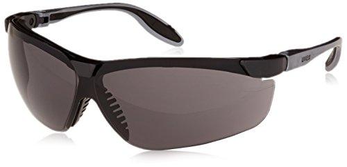 - Uvex S3701 Genesis Slim Safety Eyewear, Pewter and Black Frame, Gray Ultra-Dura Hardcoat Lens