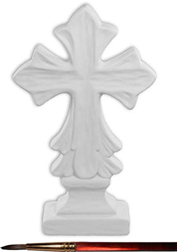 Detailed Freestanding Cross and Paintbrush Set - Paint Your Own Ceramic Keepsake