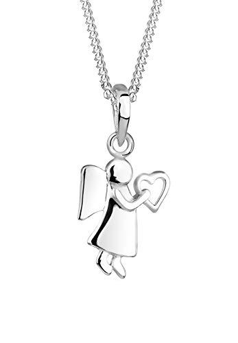 Elli Damen Halskette mit Engel und Herz Symbol Talisman Schutzengel in 925 Sterling Silber