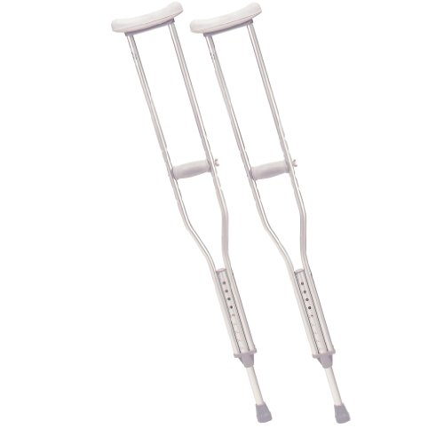 Drive Medical Tall Adult Walking Crutches with Underarm Pad and Handgrip, Gray
