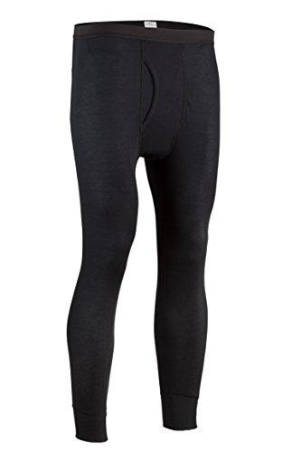 Rib Knit Thermal - Indera Men's Performance Rib Knit Thermal Underwear Pant with Silvadur, Black, Large