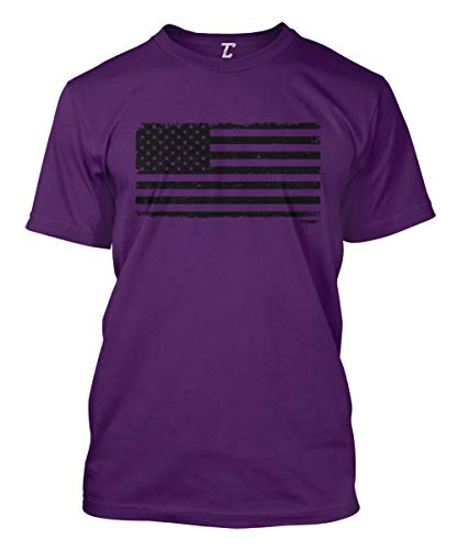 Distressed Black USA Flag - Patriotic Men's T-Shirt (Purple, Large)