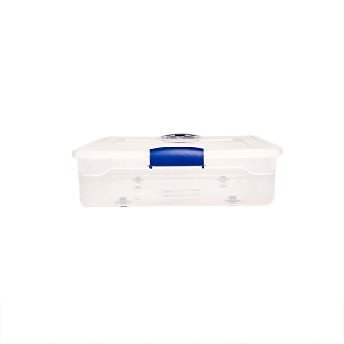 Homz Underbed Stackable with Blue Quart, Clear,