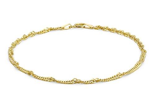 """Jewellery World Bague en or jaune 9carats 50de chaîne gourmette bracelet: 25,5cm/10"""""""