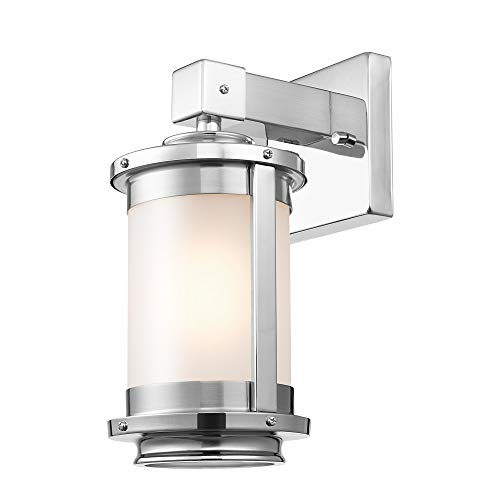 Globe Electric Blair 1-Light Wall Sconce, Brushed Steel, Chrome Accents, Frosted Glass Shade 51341