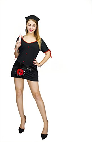 [DSplay Costume Women's Knockout Nurse Costume (One Size, Black)] (Knock Out Costumes)
