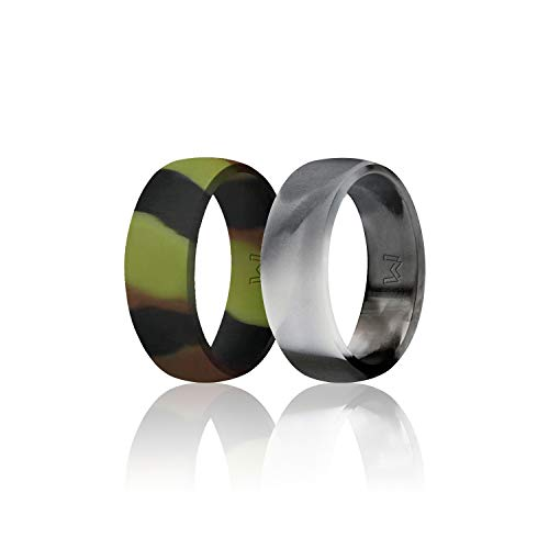 (WIGERLON Mens Silicone Wedding Ring &Rubber Wedding Bands Width 8mm Color Camo Pack of 2 Size 9)
